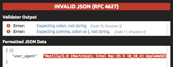 Screenshot of a JSON Validator showing an error message