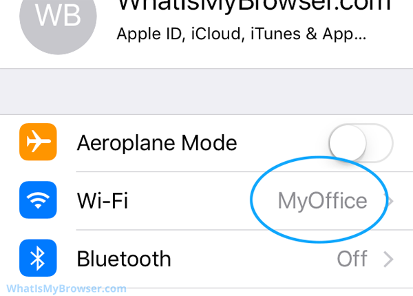 The Settings App, showing the connected WiFi name