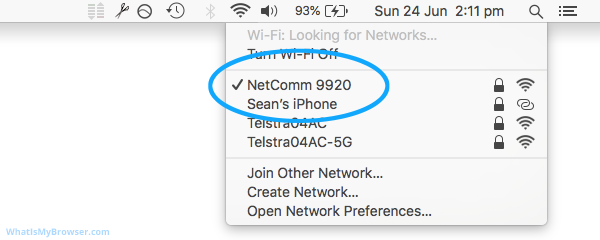 Screenshot showing the expanded WiFi menu with a connected SSID