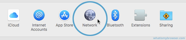 Screenshot showing the Network item in System Preferences