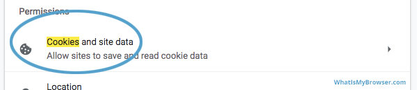 The Cookies item in the Site settings section