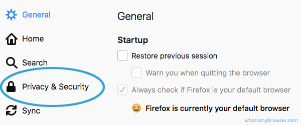 The Firefox Options window. Privacy & Security is an option shown in the list.