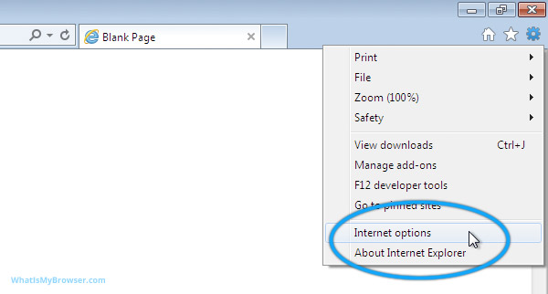 The tools menu in Internet Explorer 9