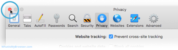 The red Close button for the Preferences window.