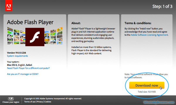 The Flash Player download page