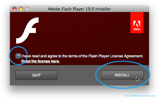 The prompt to agree to the terms and click the Install button