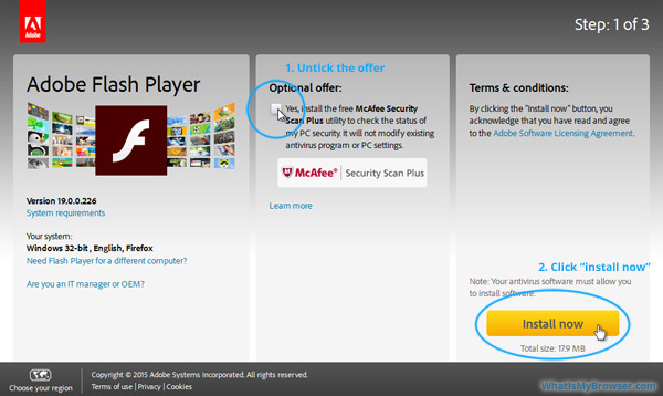 Untick the 'Optional Offer' checkbox. Click the 'Install now' button.