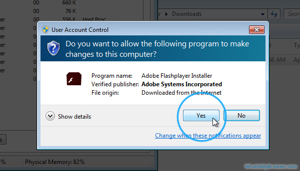 The Windows Security Warning; prompting 'Do you want to allow the following program to make changes to this computer?'