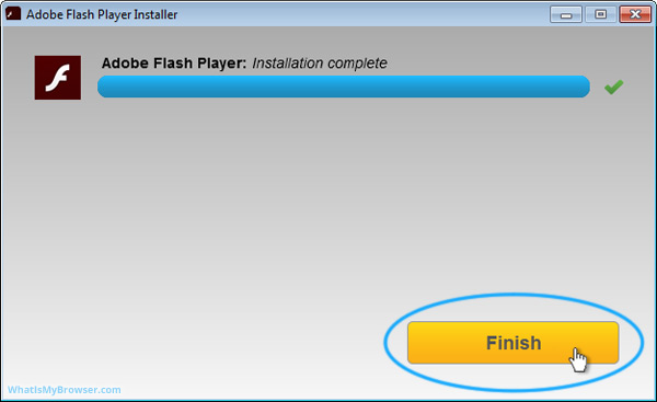 The installer has finished downloading and installing Adobe Flash