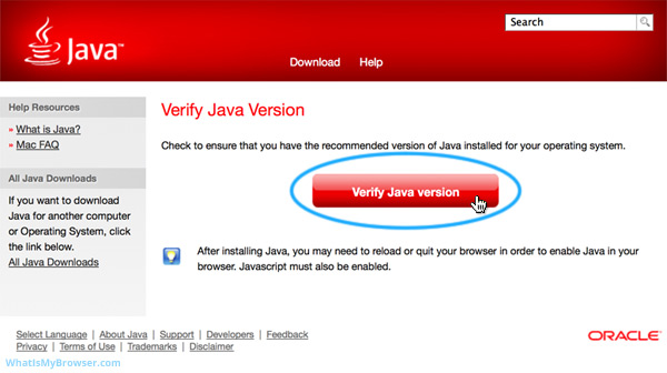 The 'Verify Java version' button on the Java website.