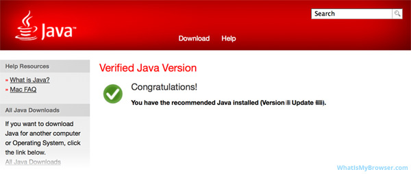 The final confirmation that Java was installed correctly.