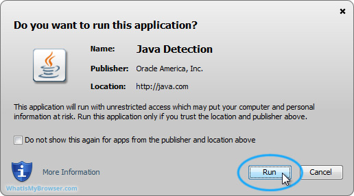 The security prompt from Java itself