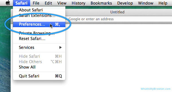 The Preferences item in the Safari menu