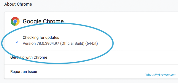 The 'About Chrome' dialog - the update section is already checking for updates