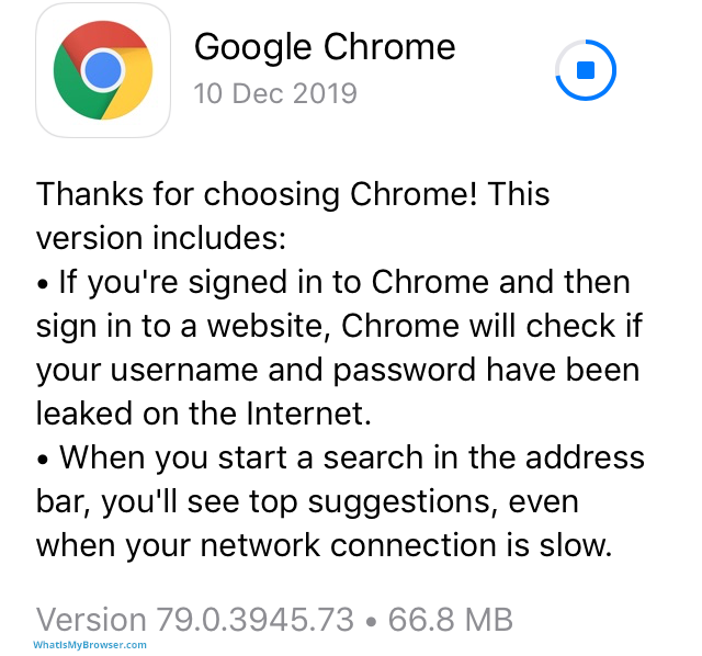 Screenshot of the App Store updating Chrome