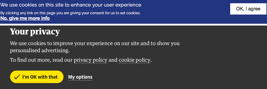 Screenshot of some cookie warnings from other sites